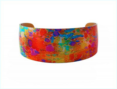 Water Lily Orange Aluminium Bangle