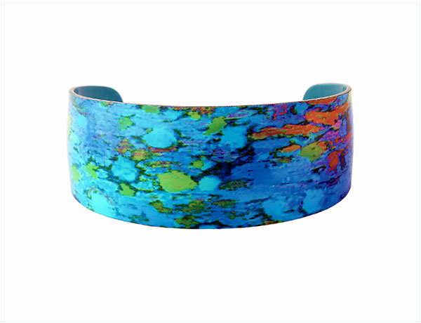 Water Lily Blue Aluminium Bangle