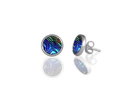 Contour blue stud earring