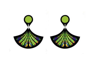 Fan Green Earrings
