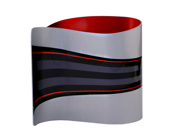 Rear view Ribbon Red Desk Clock