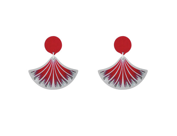 Feather Red earrings