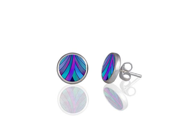 Ribbon Blue Stud Earrings