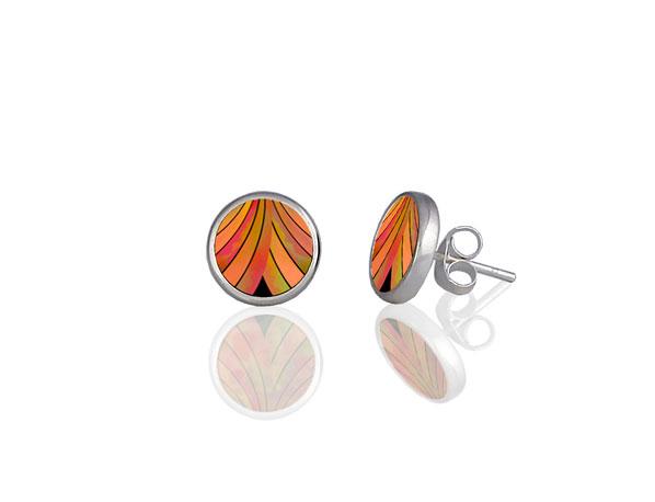 Ribbon Orange Stud Earrings