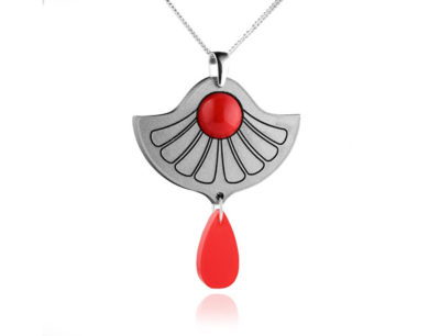 Duo Lily Grey and red acrylic pendant