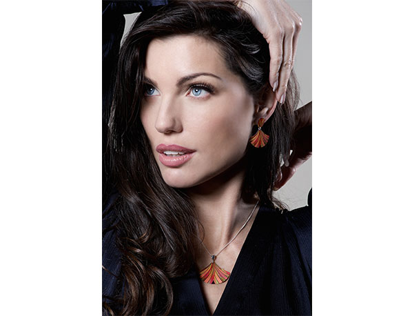 Model wearing Ribbon Orange pendant