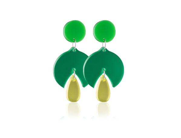 Duo snowdrop green acrylic earrings