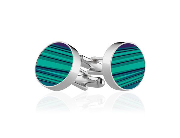 Green Stripe Cufflinks
