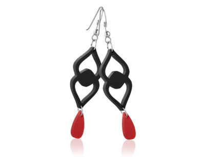 Duo Heart Black acrylic earrings