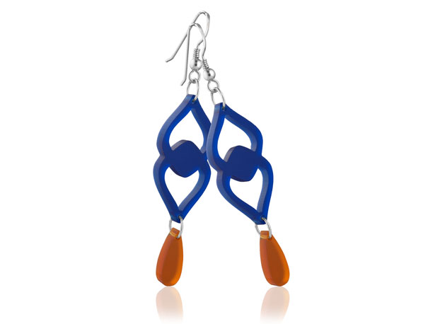 Duo Heart Dark Blue Acrylic earrings