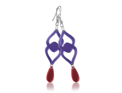 Duo Heart Purple acrylic earrings