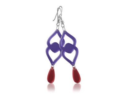 Duo Heart Purple acrylic earrings