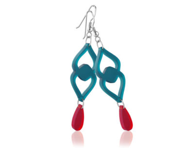 Duo Heart Turquoise/Red Frost acrylic earrings