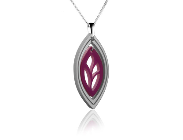 Duo Leaf Purple acrylic pendant