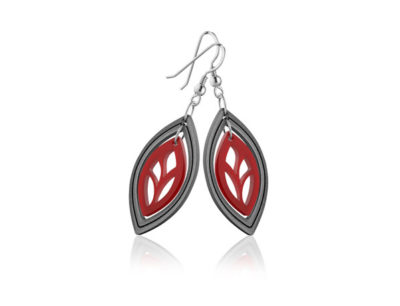 Duo Leaf Red Acrylic earrings