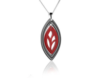 Duo Leaf Red Acrylic Pendant