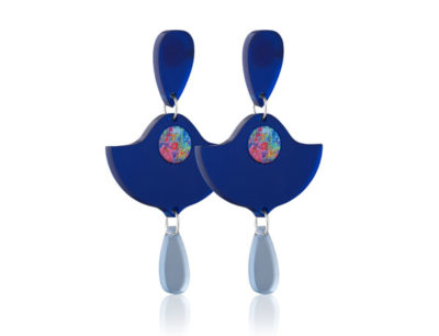 Duo Lily Dark Blue Frost acrylic earrings