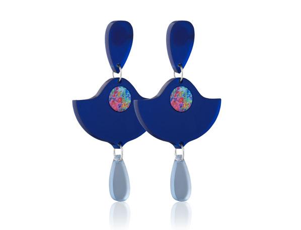 Duo Lily Dark Blue Frost acrylic earrings