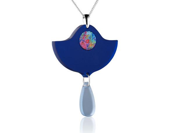 Duo Lily Dark Blue acrylic pendant