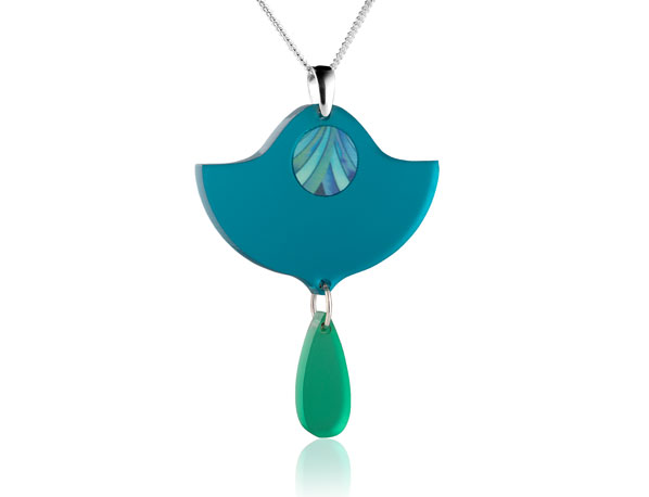 Duo Lily Blue acrylic pendant