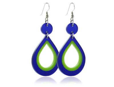 Duo Hoop Blue-& Green acrylic Earrings