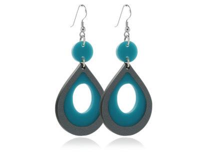 Duo Cosmos-Turquoise & Grey Acrylic -Earrings