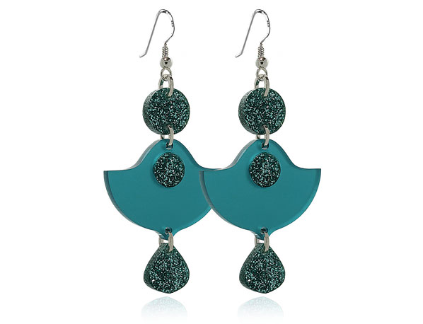 Duo Lily Turquoise Sparkle Earrings by Pixalum