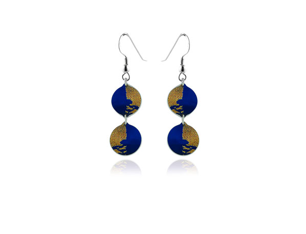 Gold Dust Blue Earrings Pixalum