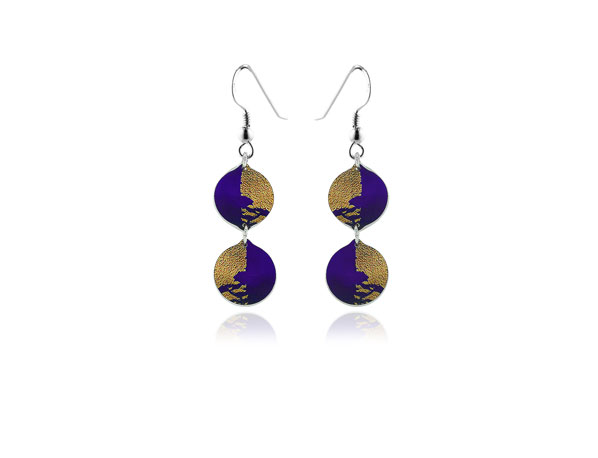 Gold Dust Purple Earrings Pixalum