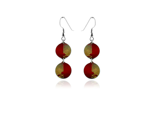 Gold Dust Red Earrings Pixalum