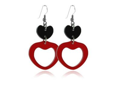 Duo Heart-Black-&-Red acrylic-Earrings
