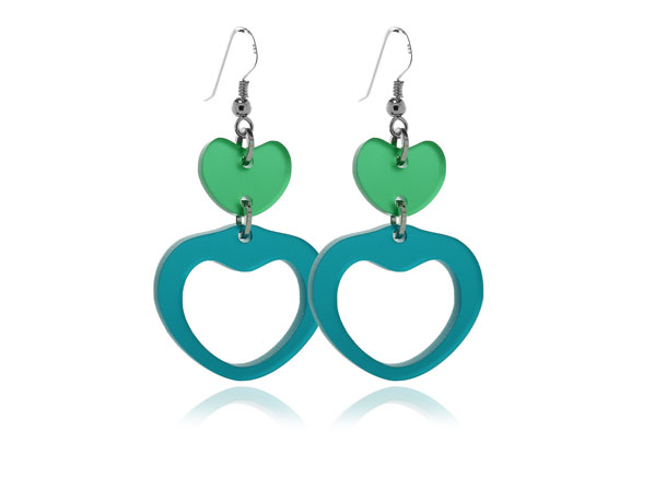 Duo Heart-Green-&-Turquoise-Earrings Pixalum
