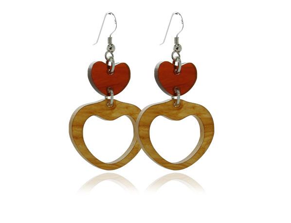 Duo Heart-Tortoiseshell-acrylic Earrings Pixalum