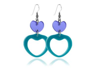 Duo Heart-Turquoise-&-Frost-Purple-acrylic Earrings