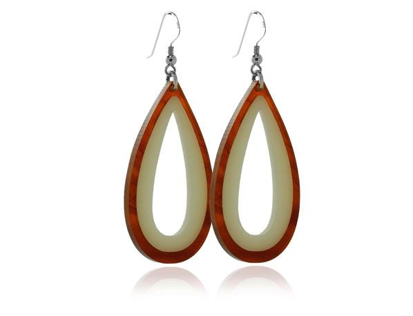Duo Tortoiseshell & Cream Acrylic Earrings Pixalum