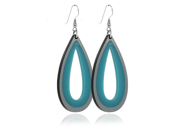 Duo Palm Turquoise Acrylic Earrings Pixalum