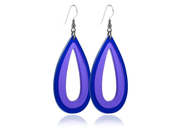 Duo Palm Purple & Blue Acrylic Earrings Pixalum