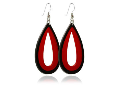 Duo Palm Red-&-Black-Acrylic Earrings