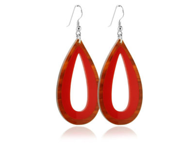 Duo Palm Tortoiseshell & Red Earrings