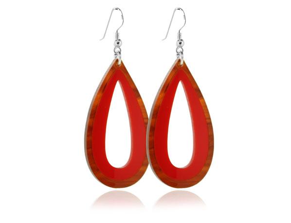 Duo Palm Tortoiseshell & Red Earrings Pixalum