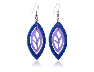 Duo Leaf Blue & Purple Acrylic Earrings