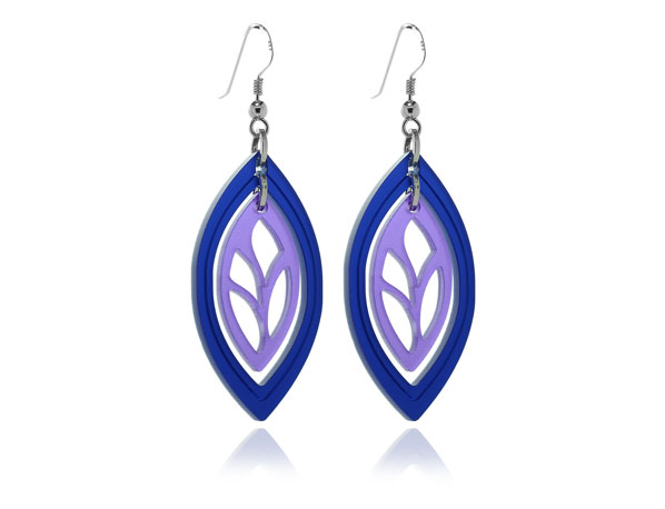 Duo Leaf Blue & Purple Acrylic Earrings Pixalum