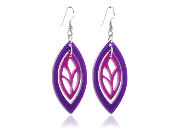 Duo Leaf Pink & Purple Acrylic Earrings Pixalum