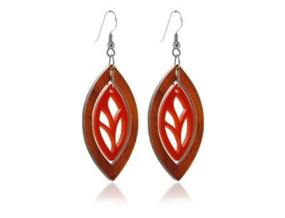 Duo Leaf-Tortoishell-&-Red-Earrings
