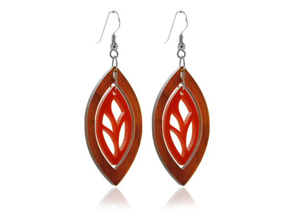 Duo Leaf-Tortoishell-&-Red-Earrings Pixalum