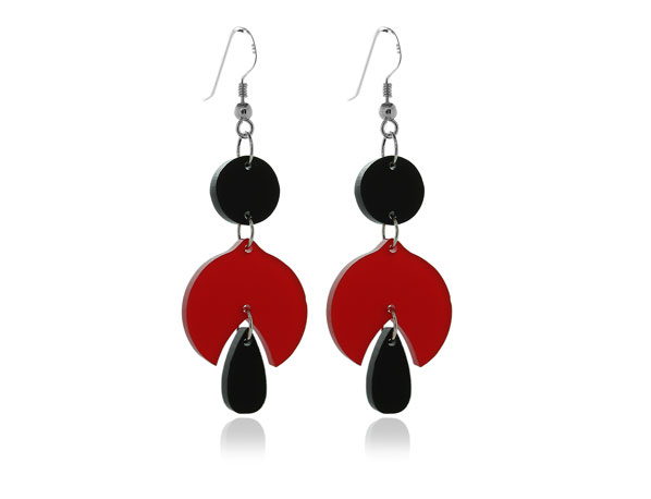 Duo Snowdrop Black & Red acrylic Earrings Pixalum