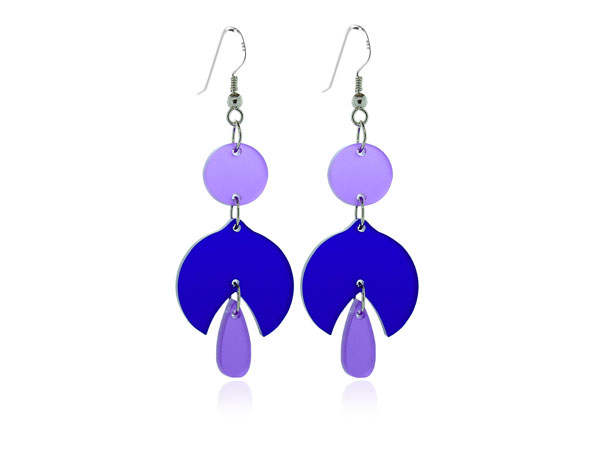Duo Blue & Purple acrylic earrings Pixalum