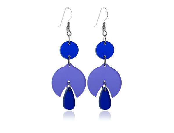 Duo Snowdrop Purple & Blue Acrylic Earrings Pixalum
