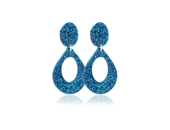 Duo Glitter Blue small acrylic Earrings Pixalum