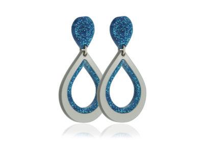 Duo Glitter II Blue acrylic earrings
